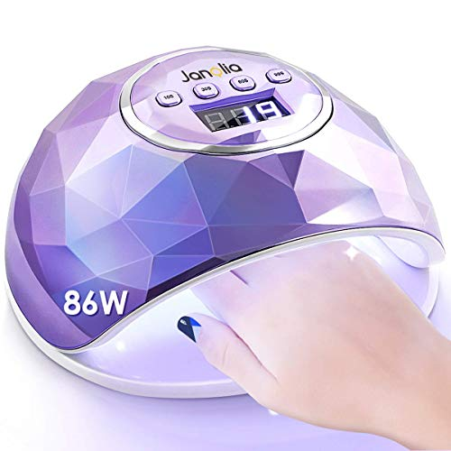 Janolia UV LED Lampada Unghie 86W, per Manicure e Pedicure con Automatico Sensore, Display LCD, 4 Timers da10s 30s 60s 99s