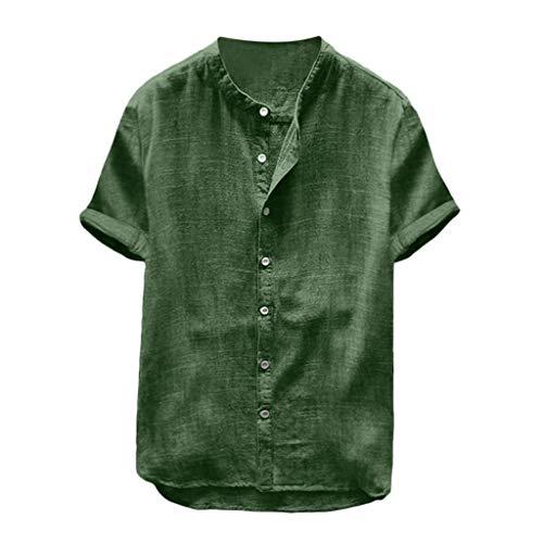Xmiral Uomo Camicia Biancheria da Uomo in Cotone Rigato in Lino Tinta UnitaCamicetta a Maniche Corte T-Shirt (XXL,16- Verde)