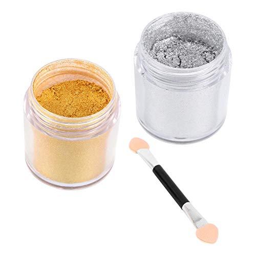 Set di polvere per unghie in polvere per specchio da 2 barattoli per unghie, polvere per glitter per unghie effetto specchio per unghie Suggerimenti per nail art Decorazione Polvere (Oro argento)