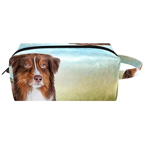 Borsa per il trucco, piccola borsa da viaggio portatile per cosmetici toilette portatile con cerniera di grande capacità ragazza Dog australiano del pastore australiano