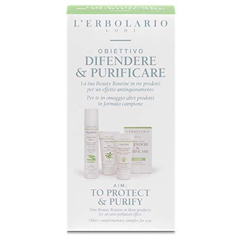L'Erbolario, Cofanetto Obiettivo Difendere e Purificare, con Detergente, Crema Giorno e Maschera Notte, Effetto Antinquinamento