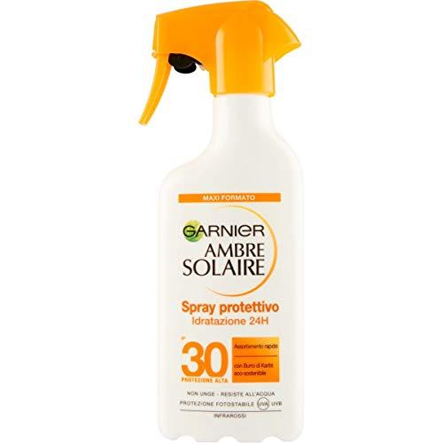 Garnier Ambre Solaire Crema Protezione Solare Idratante Latte Classico, Assorbimento Ottimo, Spray IP30, 300 ml, Confezione da 1