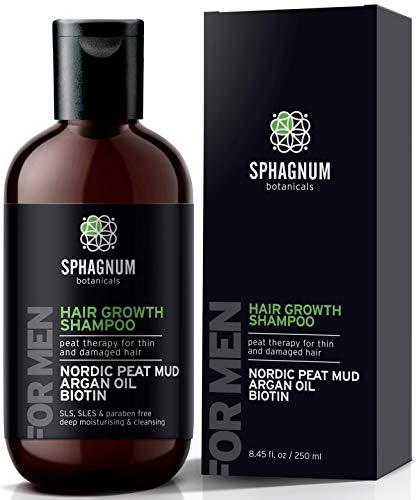 Shampoo per la Crescita dei Capelli per Uomo - Potenziamento Naturale della Biotina con Olio di Argan e Fango di Torba, Efficace Trattamento di Perdita dei Capelli per Diradamento dei Capelli