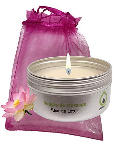 Candela per massaggio fiore di loto, 100% vegetale, senza paraffina, senza parabeni, lunga durata
