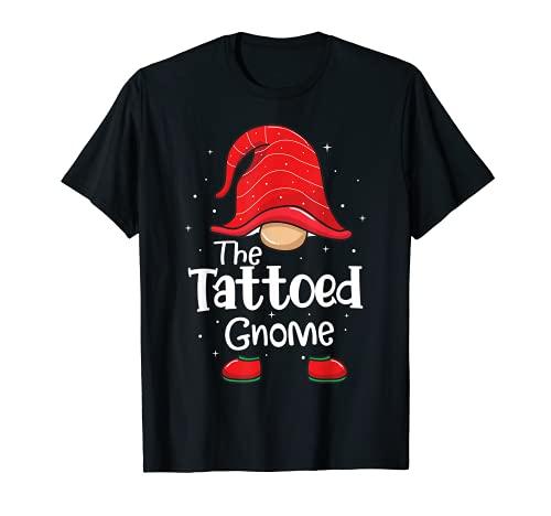 Tatuaggio Tatuato Gnome Divertente Natale Corrispondenza Famiglia Pigiama Maglietta