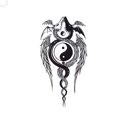 Yin Yang TBS8093 - Finto tatuaggio per festival con drago, colore: Nero/Bianco