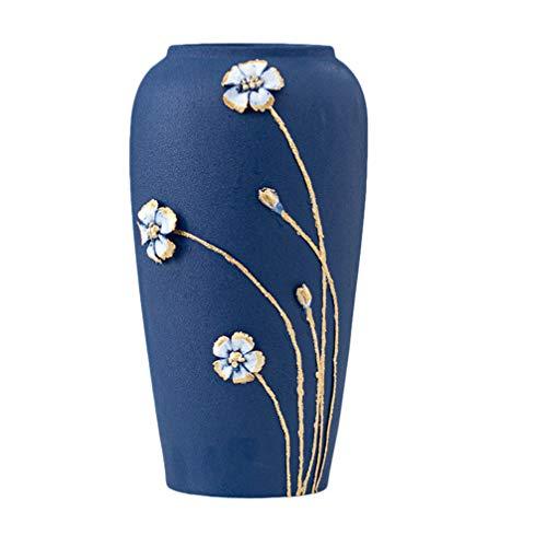 VOSAREA Vaso di Fiori Blu Alto Vaso di Fiori Stile retrò Contenitore Floreale per Composizioni Floreali Centrotavola Decorazione Festa di Inaugurazione della Casa