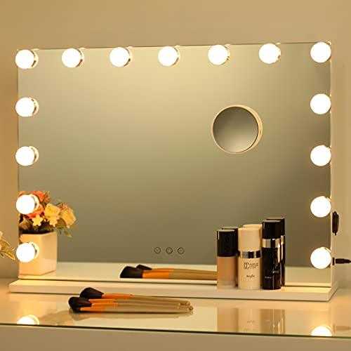 2-FNS Hollywood, specchio da trucco con 15 lampadine dimmerabili, controllo intelligente touch, specchio cosmetico illuminato per camera da letto, spogliatoio