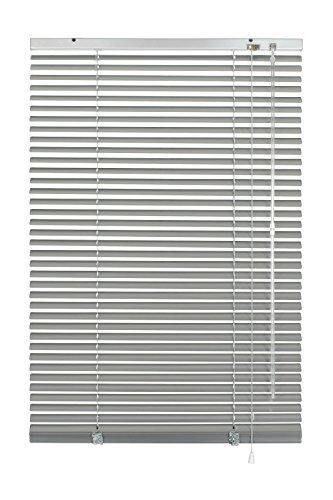 GARDINIA Veneziana in alluminio, Visibilità, Protezione dalla luce e ai raggi solari, Fissaggio al muro e al plafone, Kit di montaggio incluso, Argento, 60 x 240 cm (LxA)