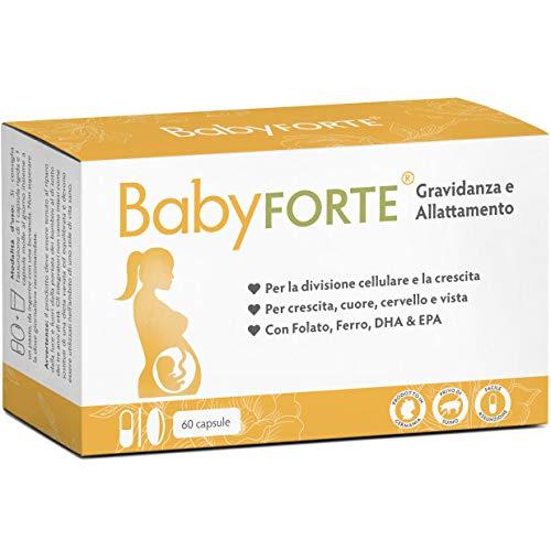 BabyFORTE® Vitamine Gravidanza & Allattamento Integratore - 60 Capsule - acido folico + 17 Nutrienti - Omega 3 DHA EPA - Made in Germany