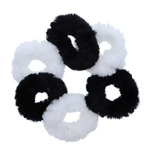Motique Accessories Elastico per capelli Scrunchies piccolo in pelliccia sintetica - Set di 6 - Bianco e nero