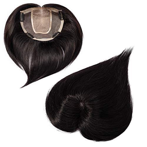 Hair Topper Donna Extension Capelli Veri Toupet Silk Base (Middle Part) 15 * 15cm 150% Density Remy Human Hair Lisci Invisibile Naturale Fascia Unica (15cm 42g #1B Nero Naturale)