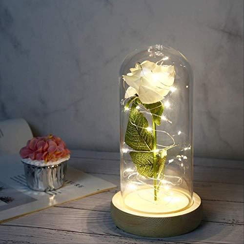 Regali per Lei Rosa Stabilizzata Beauty And The Beast, Eternal Rose Flower in Glass Dome Rose Gold Leaf Regalo di San Valentino Lampade A LED A LED Simulazione con Decorazioni Rosa Bianca