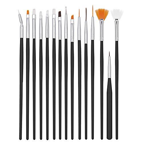 Xinzistar 15 Pezzi Pennelli Unghie Gel Ricostruzione Pennello per Unghie Acrilico Nail Art Design Pittura Set di Strumenti Punteggiano Penna