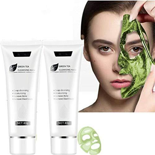 Maschera Killer Acne, Maschera Buccia Viso Tè Verde Rimozione Acne Pulizia Profonda Tre, Maschera Rimozione Comedoni Peel Off (2 PZ)