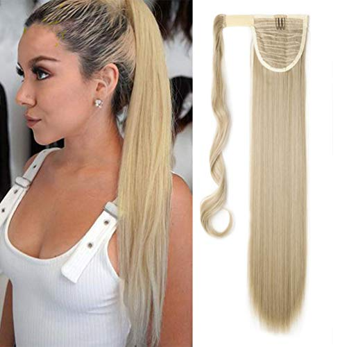 Coda di Cavallo Extension Clip Capelli Naturale Lisci Dritto Ponytail Hair Extensions Wrap on Posticci Sintetici Lunghi 66cm Ash Blonde mix Bleach Blonde