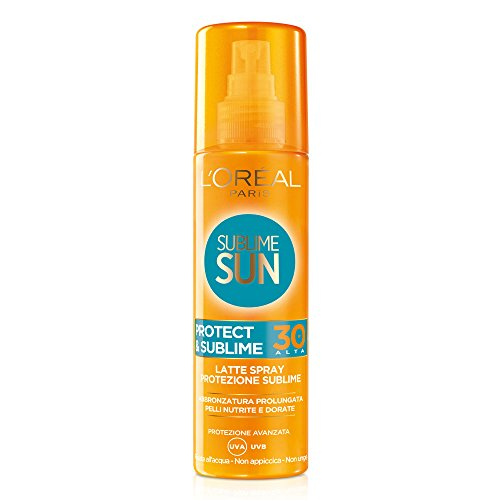 L'Oréal Paris Crema Solare Spray IP 30 Sublime Sun Protect e Sublime, Protezione Solare Media IP30, Abbronzatura Intensa, 200 ml