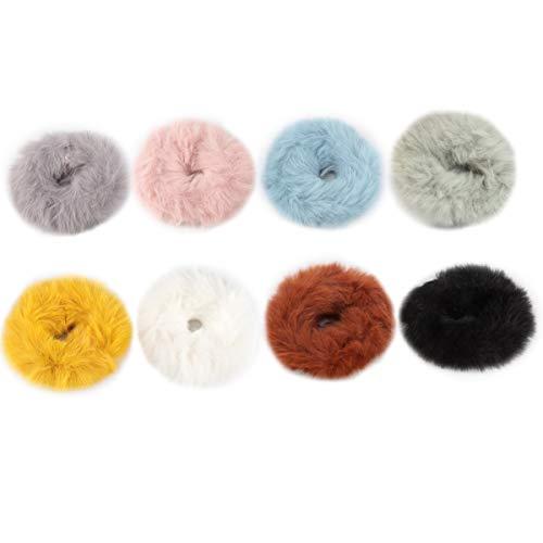 Scrunchies Capelli Pelosi 8 pezzi di Fascette per Capelli in Peluche Fuzzy Corda Elastica per Capelli da Donna