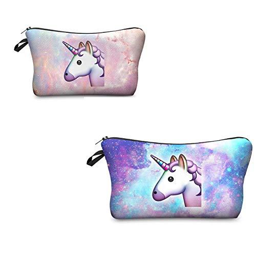 Leah's fashion® Borsa da toilette Beauty Make Up Pouch borse unicorno Borsetta da Viaggio Make Up Organizzare (Rosa e verde unicorni)