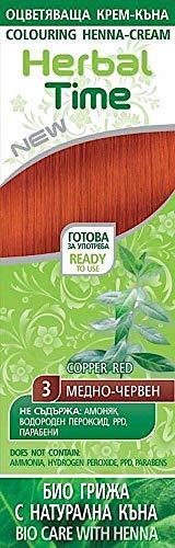 Crema colorante per capelli con estratto di Henné e Ortica - Colore Rame Rosso 3, Senza Ammoniaca, Senza Solfato, Senza Parabeni