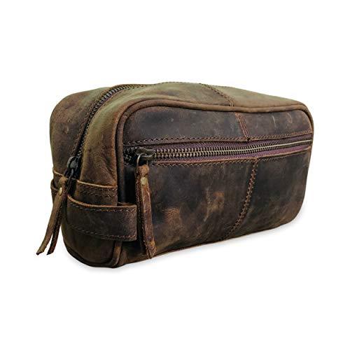 Genuine Leather Unisex Toiletry Bag Travel Dopp Kit, Toiletries Organizer, Cosmetics, Makeup Bag, Shaving Kit, Best Gift for Men or Women