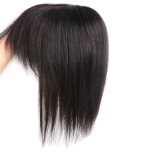 Susanki Clip in veri capelli umani Crown Toppers con frangia per donne con diradamento e capelli grigi, 20,3 cm, marrone scuro