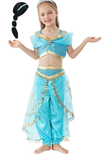 Lito Angels Ragazza Principessa Jasmine Vestire Costume da Danza del Ventre Tenuta con Parrucca per Capelli Taglia 5-6 Anni A