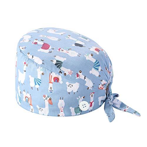 XIAOQING Cappello Turbante Cappello Bouffant Stampato Copricapo Bouffant Regolabile Cappello Unisex con Fascia Sudore per Lavoratori di Bellezza Forniture Cura Personale (D)