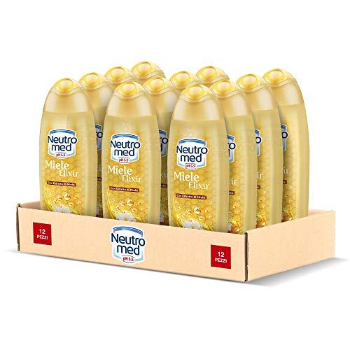 Neutromed Miele Elixir Docciaschiuma Corpo Nutrimento Delicato, Docciaschiuma con Estratto di Miele, Confezione da 12 pezzi x 250 ml