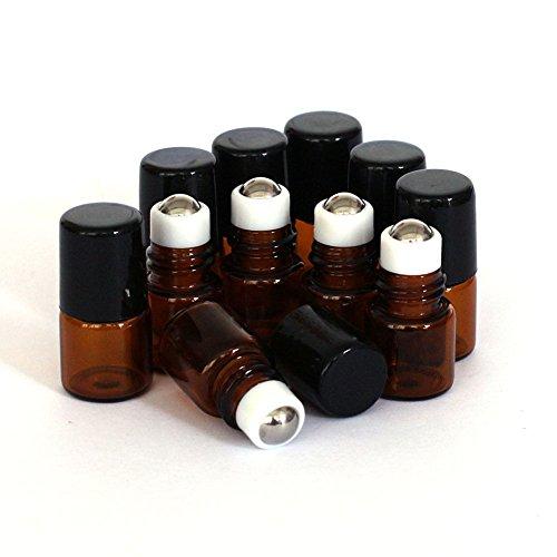 BRUSSELS0810pz 1ml vuoto marrone ambra vetro rullo da viaggio bottiglia olio essenziale contenitore vuoto riutilizzabile trucco campione contenitore per olio essenziale profumo siero viso