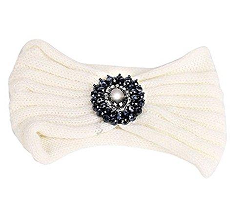 Tininna, Cerchietto, fascia per capelli in lana, lavorata a maglia, turbante elastico, copri orecchie, con pietra, da donna/ragazza bianco taglia unica