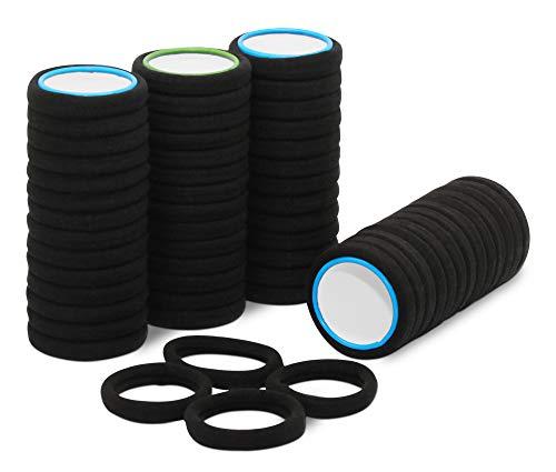 50 pezzi di elastici neri per capelli di cotone pregiato, ideale per l'uso quotidiano. Fermacapelli elastici. Bande per capelli no-metal adatte perfettamente per donne & ragazze