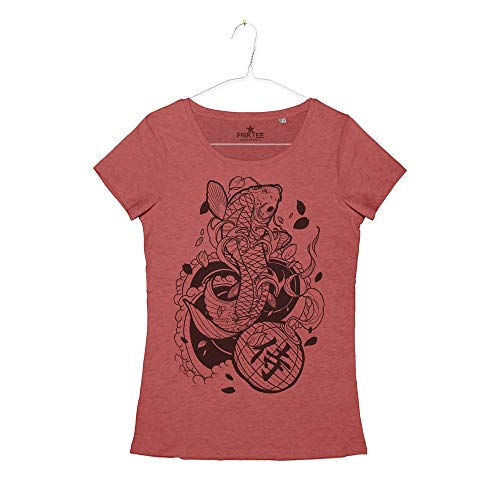 Maglietta Donna Tatuaggio Carpa Koi Ideogramma Kanji Japanese Koi Carp Fish Tattoo T-Shirt Girl (Vintage Red, S)