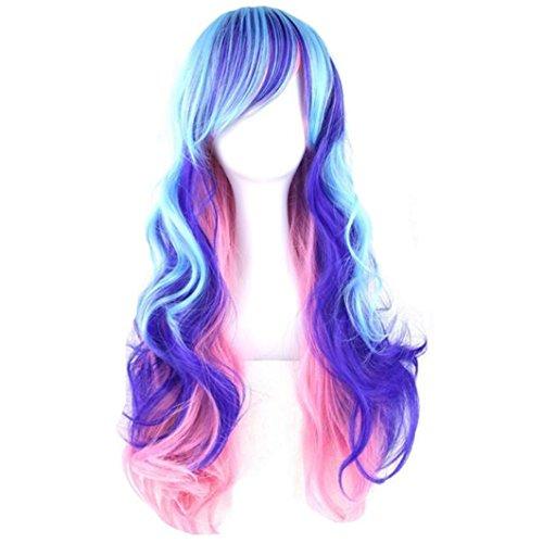 32' Parrucca da donna per Cosplay festa capelli lunghi ondulati sintetici resistenti al calore parrucca di modo, multicolore