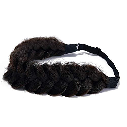 TOECWEGR - Cerchietto per capelli intrecciato Classic Chunky Wide Plaited Wedding Fluffy Braids Wig Women Girl Beauty Accessory (Brown svgnr swirl highli ghts A04)