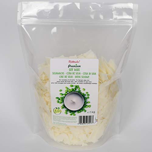 Cera di soia premium di Materialix - varie dimensioni - cera di soia ecologica naturale per la produzione di candele (1kg)