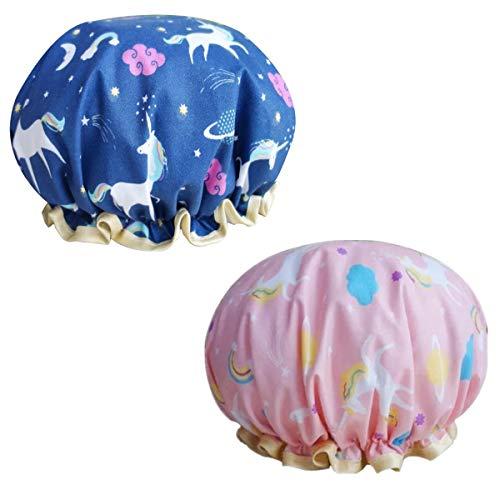 2 cappucci da doccia a forma di unicorno, per donne, protezione dei capelli, da donna, cuffia da doccia per bambini a doppio strato, per ragazze