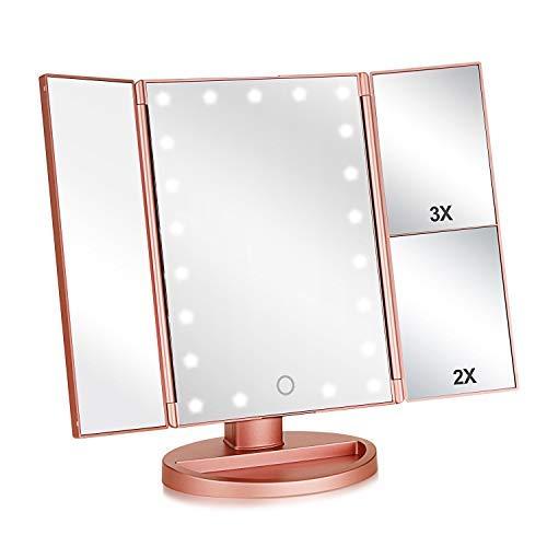 Specchio Trucco,Flymiro Specchio per Il Trucco con Luce 1x / 2X / 3X Trifold ingrandente 21 LED Touch Screen, Regolabile a 180° Specchio cosmetico per Il Trucco per viaggio(Oro Rosa)