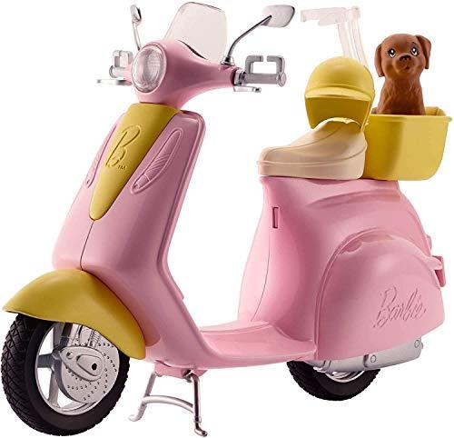 Barbie Scooter e Cagnolino, Moto con Cucciolo e Casco, Bambola non Inclusa, per Bambini 3 + Anni, FRP56