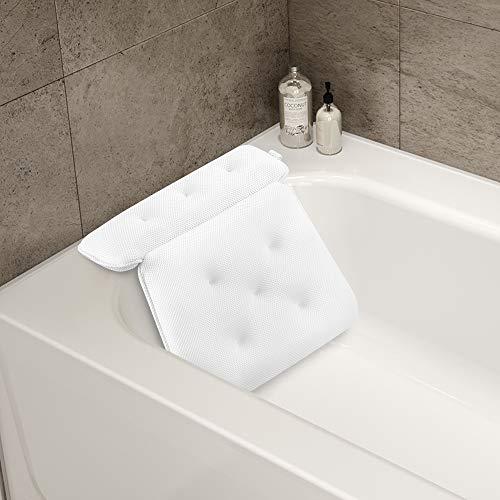 ecooe - Cuscino per vasca da bagno, in rete, con 8 ventose forti, con gancio in acciaio inossidabile, adatto per vasche da bagno e spa