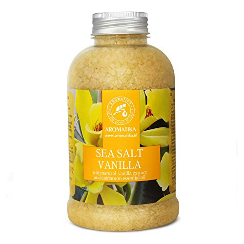 Sale Marino Vanilla con Olio di Vaniglia e Cannella 600g - Sali da Bagno Naturali per un Buon Sonno - Riduzione dello Stress - Bellezza - Cura del Corpo - Rilassamento - Aromaterapia