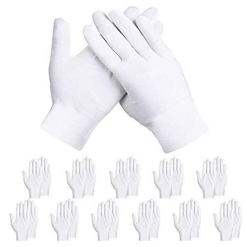 Rovtop 12 paia Guanti Cotone Bianchi, Guanti di Cotone, Guanti Bianchi per la cura della pelle, esaminando gioielli, lavoro quotidiano