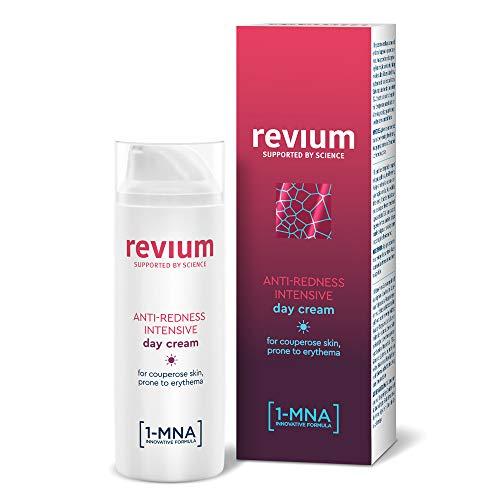 Revium Rosacea, crema giorno antirossore dall'azione intensa, per cute soggetta a eritemi, con protezione UVA e UVB, molecole 1-MNA, estratto di alga rossa Corallina Officinalis e frutto di acerola