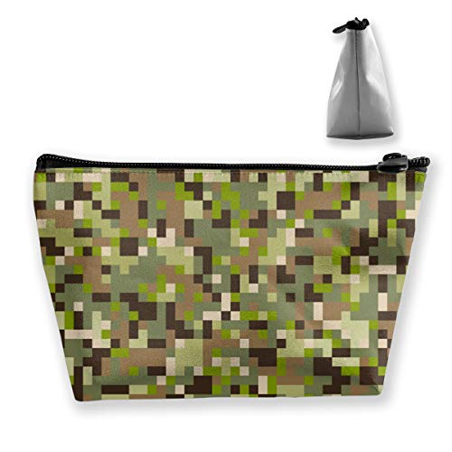 Leafy Digital Camo Makeup Case and Toiletry Bag - Train Case Make up Bag for Women