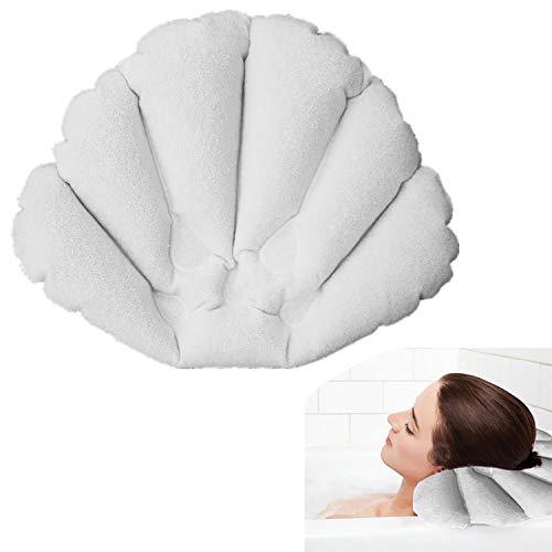 1 Cuscino Gonfiabile Da Bagno Con Ventose, Cuscino Per Vasca Da Bagno, Cuscini poggiatesta, Cuscino Per Rilassarsi, Cuscino Da Spa Bagno Per Collo Comfort, Cuscino Rilassante, Colore Bianco