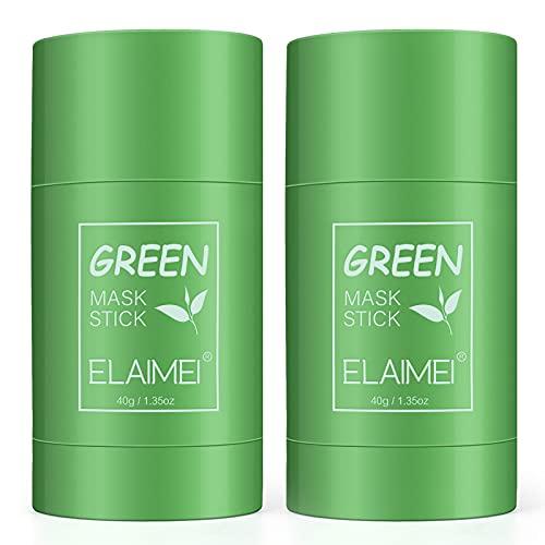 2 Pack Green Mask Stick Punti Neri, potente maschera all'argilla purificante al tè verde Controllo dell'olio per la pulizia profonda Rimozione dei punti neri per tutti i tipi di pelle (2 PACK)