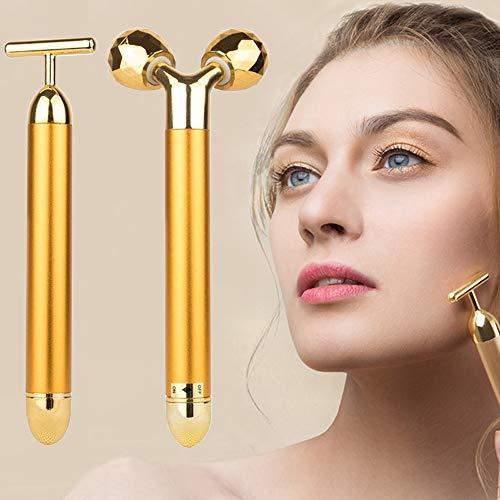 2-IN-1 Beauty Bar Rullo massaggiatore viso 24k Golden Pulse, massaggiatore testa naso naso braccio per lifting facciale, antirughe, pelle tesa, rassodamento viso