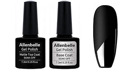 Allenbelle Base coat And Matte Top Coat Smalto Semipermanente Nail Polish UV LED Gel Unghie (Kit di 2pcs 7.3ML/pc)