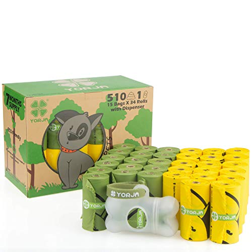 YORJA Sacchetti igienici per Cane,510 unità con Dispenser per Escrementi di Cane,Extra Spessi,Forti e Prova di perdite,biodegradabili