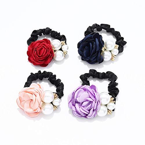 Yean - Set di 4 elastici per capelli con perle e fiori, accessori per capelli rossi per donne e ragazze